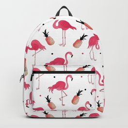 Flamingo and Pineapple Tropical Pattern Backpack
