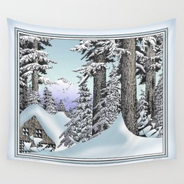 Snowed in the Douglas Fir Wall Tapestry