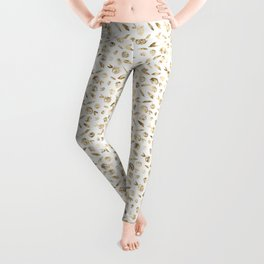 Gold Roses Rosette Pattern on White Leggings