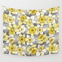 Daffodil Daze - yellow & grey daffodil illustration pattern Wall Tapestry