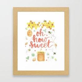 Oh How Sweet | Digital Watercolor Honeybees Bee Hive Honey Pot Framed Art Print