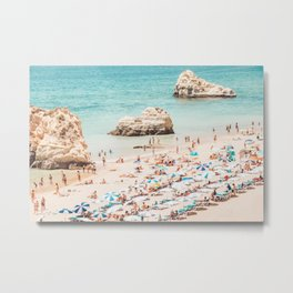 Aerial Beach Summer Umbrellas - Ocean - Sea - Travel photography by Ingrid Beddoes Metal Print