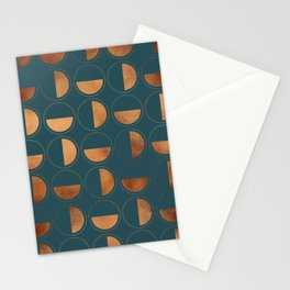 Copper Circles Art Deco on Emerald Stationery Cards