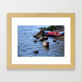 A Break by the Lake (Color) Framed Art Print