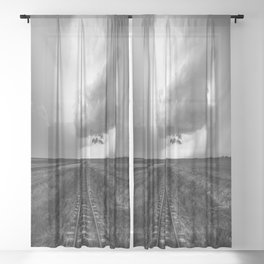 A Dreamer's Journey - Railroad Tracks and Storm in Black and White Sheer Curtain