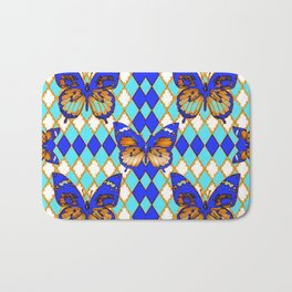 ARGYLE ABSTRACTED  BROWN SPICE  MONARCHS BUTTERFLY & BLUE-WHITE Bath Mat