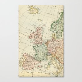 Old Map of the West of Europe Canvas Print