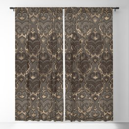 Oriental Pattern -Pastels and Brown Leather texture Blackout Curtain