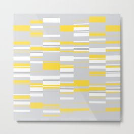 Mosaic Rectangles in Yellow Gray White #design #society6 #artprints Metal Print