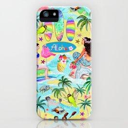 Aloha Hawaiian Tropical mermaid , flamingos, yoga floats floral iPhone Case