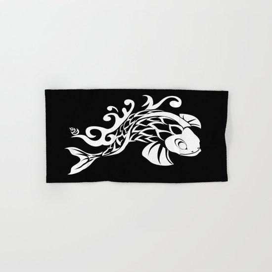 BK WHT KOI FISH LOGO Hand & Bath Towel