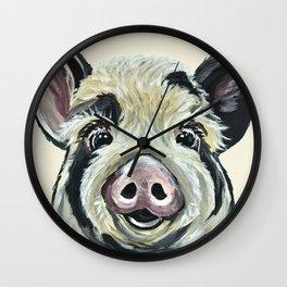 Pig Art, Farm Animal, Cute Pig Painting Wall Clock