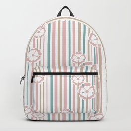 Retro . The floral pattern on striped background . Backpack