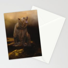 Roaring grizzly bear Stationery Cards