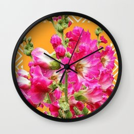 Fuchsia Pink Holly Hocks Pattern Orange Color Floral Art Wall Clock