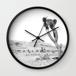 Vintage Desert Scape B&W // Cactus Nature Summer Sun Landscape Black and White Photography Wall Clock