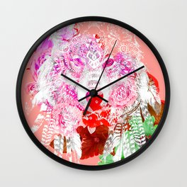 Wolf tattoo color Wall Clock