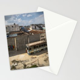 Abandoned bus in an empty backyard in Cienfuegos, Cuba. Stationery Cards