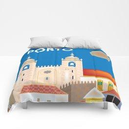 Porto, Portugal - Skyline Illustration by Loose Petals Comforters
