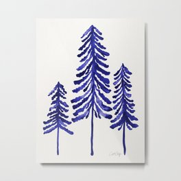 Pine Trees – Navy Metal Print