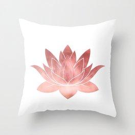Pink Lotus Flower   Watercolor Texture Throw Pillow