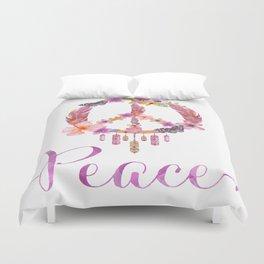 Peace Symbol Flower Power 70s Art Duvet Cover