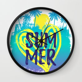 Summer tropical background with palm trees drawn by hand. Wall Clock