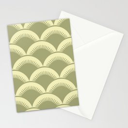 Japanese Fan Pattern Olive and Yellow Stationery Cards
