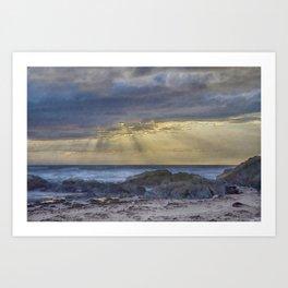 Sunset and God beams - watercolour Art Print