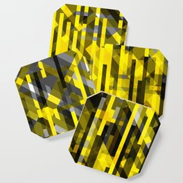 abstract composition in yellow and grays Coaster