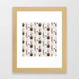 Weimaraner Dog Half Drop Repeat Pattern Framed Art Print