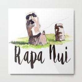 Rapa Nui watercolor Metal Print