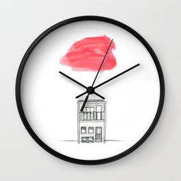 A red cloud over a little house Wall Clock