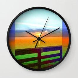Blue Edge Pier Wall Clock