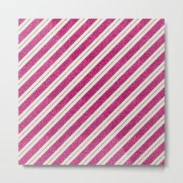 Neon pink faux gold glitter modern stripes pattern Metal Print
