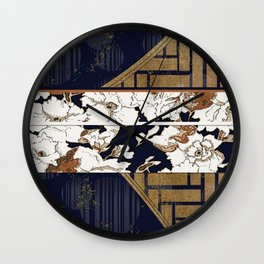 Navy and Gold Herringbone Peony Obi Print Wall Clock