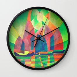 Sea of Green With Cubist Abstract Junks Wall Clock