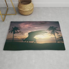 Flying Rhino, Fantasy art, Surreal Africa, Wildlife art Rug