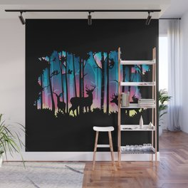 Silhouette Deep Forest & Animals 02 Wall Mural