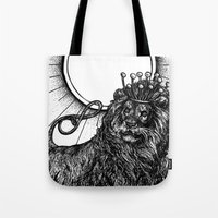 tarot Tote Bags featuring Strength Tarot by Corinne Elyse