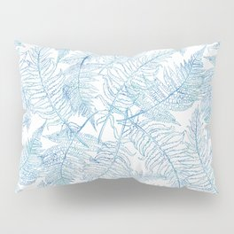 Fern Silhouette Blue Pillow Sham