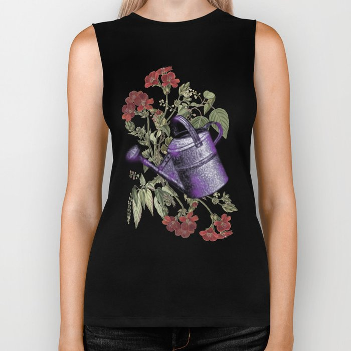 Floral with Watering Can Biker Tank