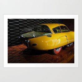 Vintage yellow car I Retro I Red Tires I Car museum I Photography Art Print