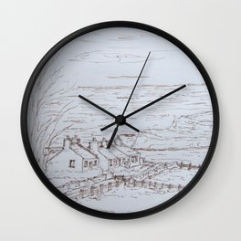 Clifftop cottages Moelfre Wall Clock