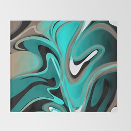 Liquify 2 - Brown, Turquoise, Teal, Black, White Throw Blanket