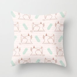 Retro Vintage sewing machine  Hand crafts Throw Pillow