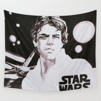luke hemmings Wall Tapestries featuring Luke Skywalker by Popp Art