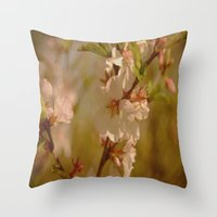 cherry blossoms Throw Pillows featuring Cherry Blossoms by Dorothy Pinder
