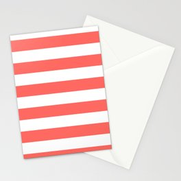 Horizontal Stripes - White and Pastel Red Stationery Cards
