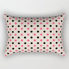 Red black polka dot on beige background Rectangular Pillow